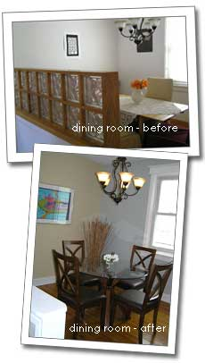 before and after photos of the dining room